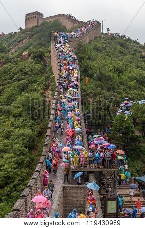 Beijing, China - Circa September 2015: Tourists On Great Wall In Beijing,  China