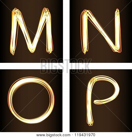 Fire show Style Set Of Letters M, N, O And P
