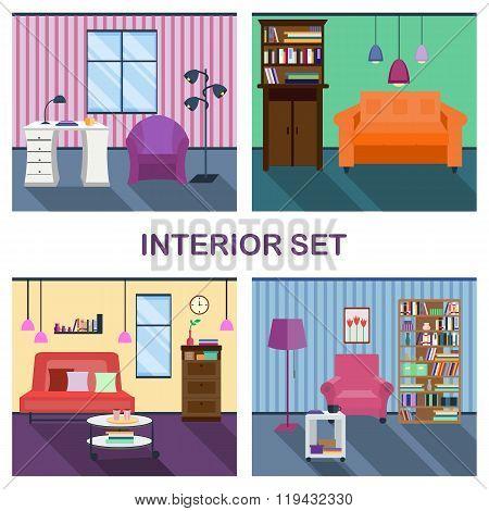 Four interiors of living room