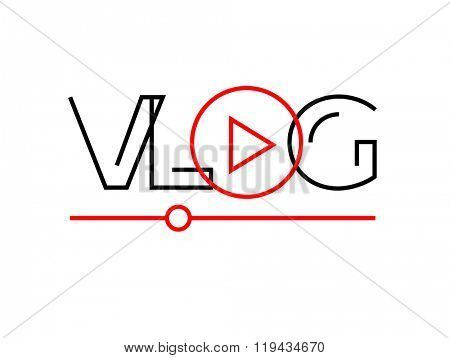 Vlog or video blog line icon with play button. Vector illustration.