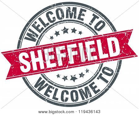 welcome to Sheffield red round vintage stamp