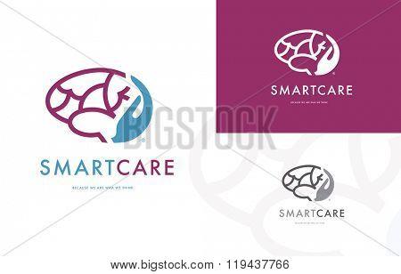 Premium logo design of a hand holding a brain