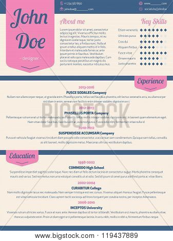 Modern Resume Cv With Pink Ribbon