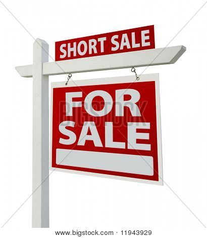 Short Sale Home For Sale Real Estate Sign Isolated on a White Background with Clipping Paths - Right Facing.