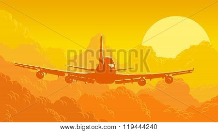 Vector Illustration Of Sky And Clouds With Flying Aircraft.