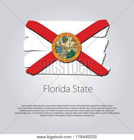 Florida State Flag With Colored Hand Drawn Lines In Vector Format