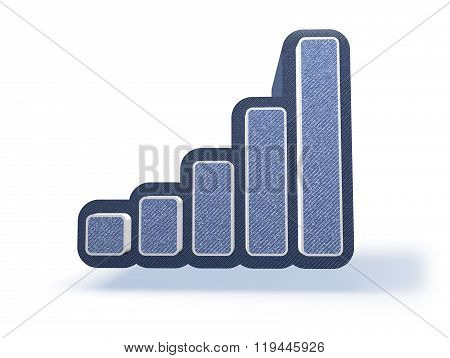Bar Chart Icon In Blueish Denim Look