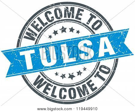 welcome to Tulsa blue round vintage stamp