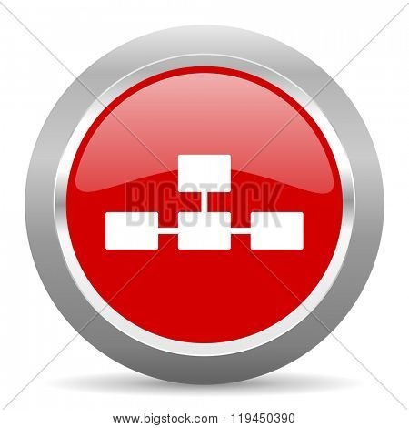 database red chrome web circle glossy icon