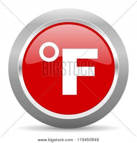 fahrenheit red chrome web circle glossy icon