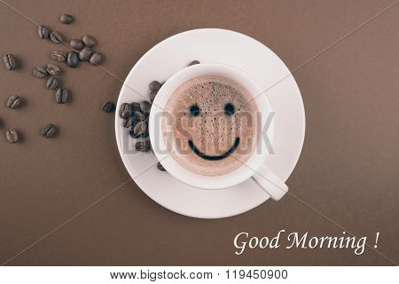 Good morning white coffee cup background brown