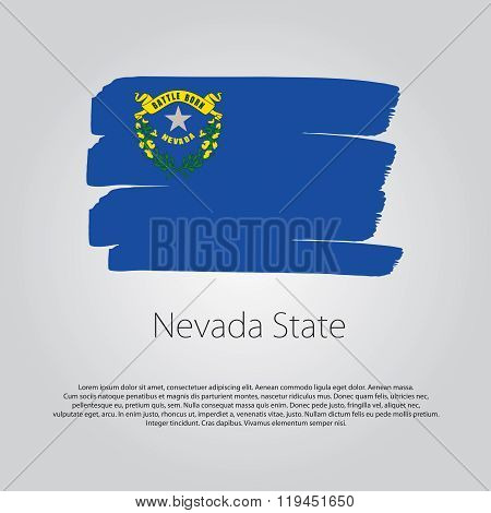 Nevada State Flag With Colored Hand Drawn Lines In Vector Format