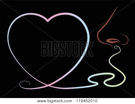 Scent Heart Nose Smell Black Background