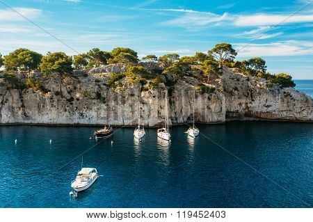 Beautiful nature of Calanques on the azure coast of France. Yach