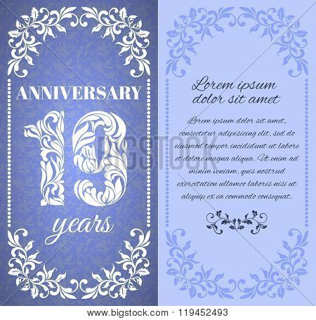 Luxury Template With Floral Frame And A Decorative Pattern For The 19 Years Anniversary. There Is A