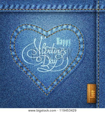 Valentine's Day lettering Greeting Card on denim background, vector illustration