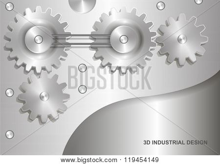 Industrial 3D abstract design - gears. Color silver light tone.
