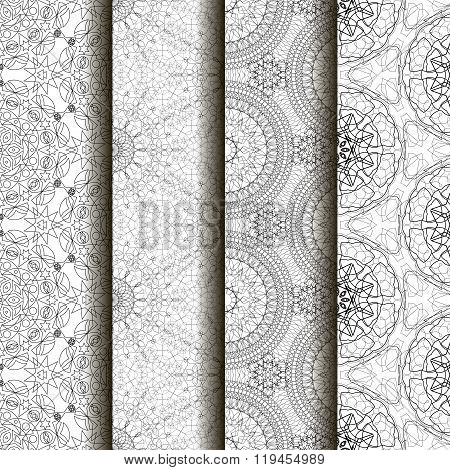 4 different vector seamless patterns. Complicated black and white backgrounds textures