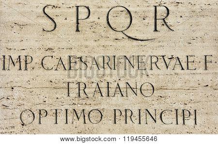 Latin Inscription Of Roman Emperor Trajan