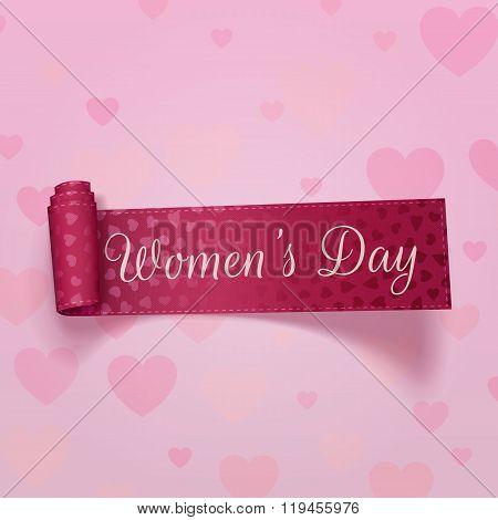 Pink festive Ribbon. International Womens Day
