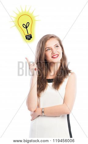 Business Woman Having A Great Idea