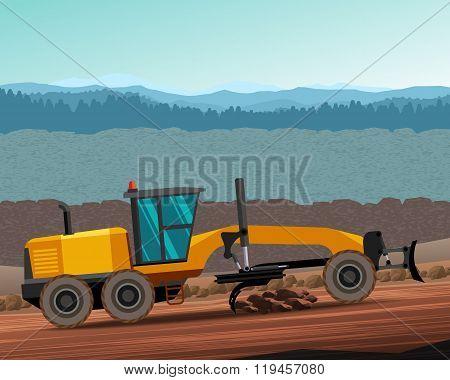 Grader Side View Color Illustration