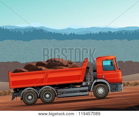Red Tipper Dump Truck Color Vector
