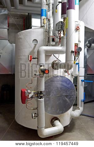 Hot Water Storage Tank In A Boiler Room