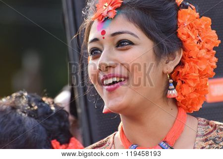 Young Girl Dancer Jouful Expression At Holi (spring) Festival In Kolkata.