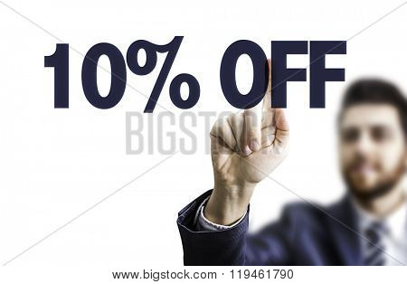 Business man pointing the text: 10% OFF