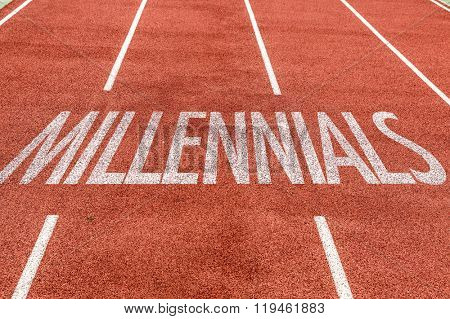 Millennials written on running track