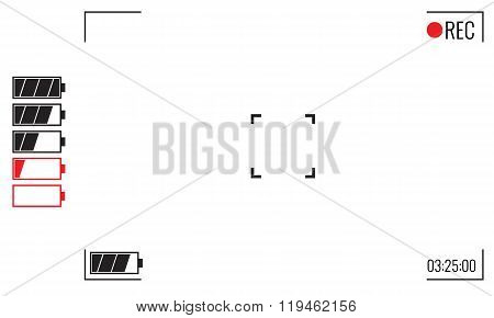 Focusing screen of the camera. Viewfinder camera recording. Illustrated Vector graphic.