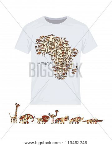 Map of Africa with wild animals. Vector design for printing on T-shirts