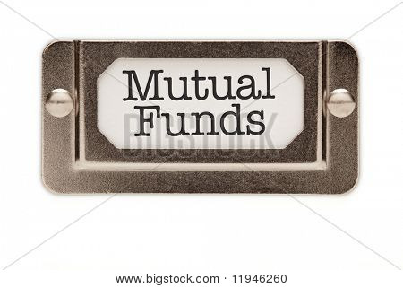 Mutual Funds File Drawer Label Isolated on a White Background. poster