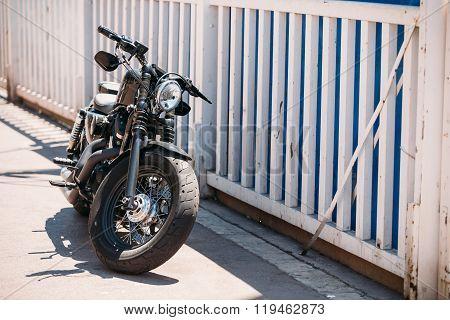 High power motorcycle Harley-Davidson parking on street