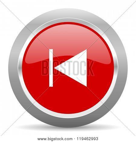 prev red chrome web circle glossy icon