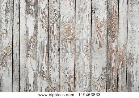 Wooden shabby palisade background, cracked paint, white and brown poster