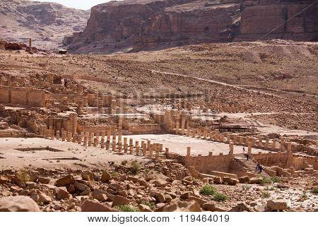 View of the Nabataean city Petra Jordan