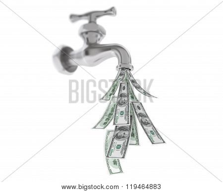 Dollar Bills Coming Out From Chrome Water Tap