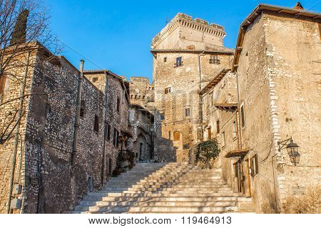 The Staircase In The Center Of Sermoneta, A Medieval Village In Lazio, Italy