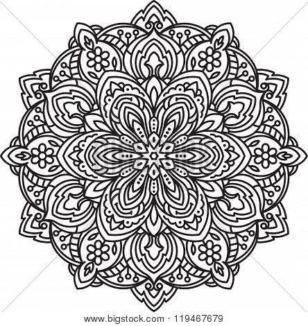 Abstract Vector Black Round Lace Design In Mono Line Style - Mandala, Ethnic Decorative Element.