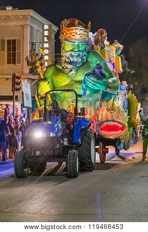 New Orleans, La/usa - Circa February 2016: Krewe Of Title In Parade During Mardi Gras In New Orleans