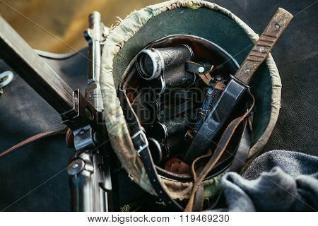 German military ammunition of World War II. Helmet, binoculars,