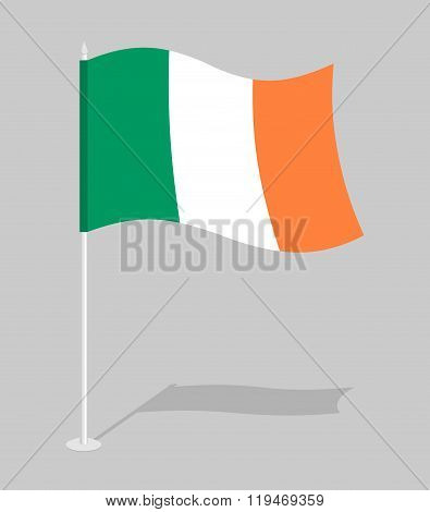 Flag Of Ireland. Official National Character Of Irish State. Traditional Irish Developing Flag