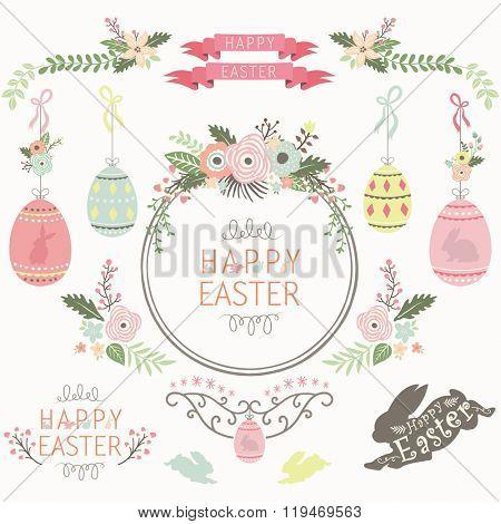 Floral Easter Design Elements