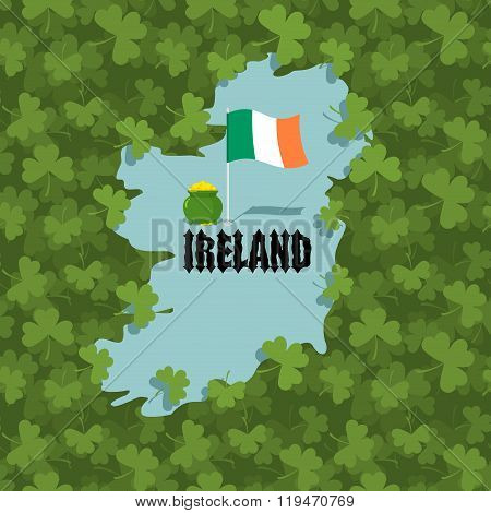 Map Of Ireland And Shamrock. Many Of Clover In Ireland. Irish Flag And Gold  Leprechaun. Ancient Cel