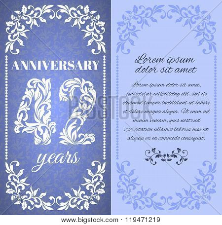 Luxury Template With Floral Frame And A Decorative Pattern For The 42 Years Anniversary. There Is A