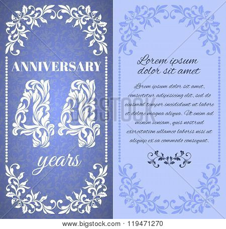 Luxury Template With Floral Frame And A Decorative Pattern For The 44 Years Anniversary. There Is A