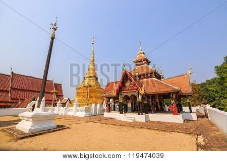 Cruciform Shaped Pavilion And Golden Buddhist Pagoda