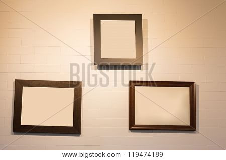 Photo Frame Hanging On White Wall, Decoration Interior In Restaurant